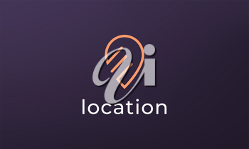 Simple pin position logo. abstract destination location icon, route direction symbol design
