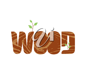 Wood lettering. Letters wood texture. Nature Typography