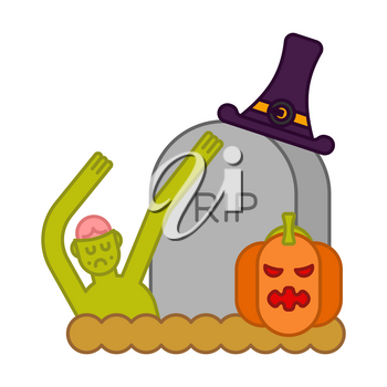 Zombie and grave and pumpkin. Gravestone and dead man. Halloween illustration