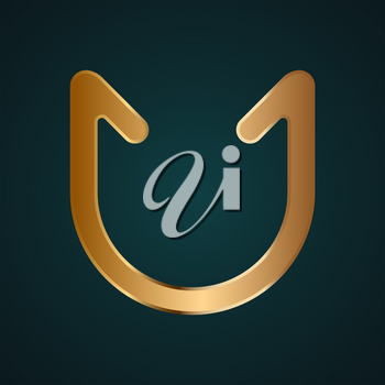 Abstract curve shape vector. Gradient gold metal with dark background