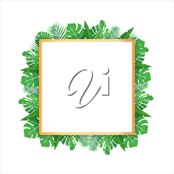 Tropical leaves around a white rectangle box copy space. Bright abstract background for banner, flyer or cover with copy space for text or emblem