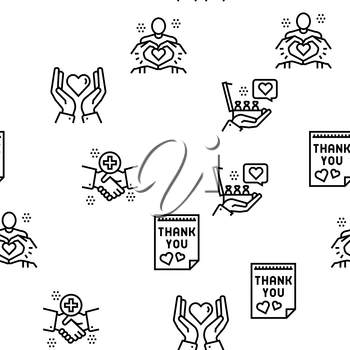 Thank You Day Holiday Vector Seamless Pattern Thin Line Illustration
