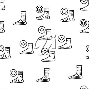 Socks Fabric Accessory Vector Seamless Pattern Thin Line Illustration