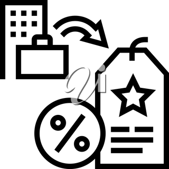 staff discount benefits line icon vector. staff discount benefits sign. isolated contour symbol black illustration