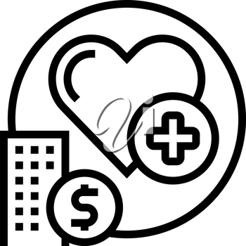 health care benefits line icon vector. health care benefits sign. isolated contour symbol black illustration