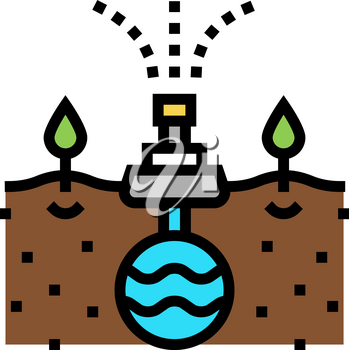 irrigation system from drain color icon vector. irrigation system from drain sign. isolated symbol illustration