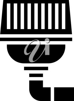filter of drainage system glyph icon vector. filter of drainage system sign. isolated contour symbol black illustration