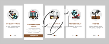 Poverty Destitution Onboarding Mobile App Page Screen Vector. Lost Job And House, Miscarriage And Illness, Hunger And Drought Poverty Problem Illustrations