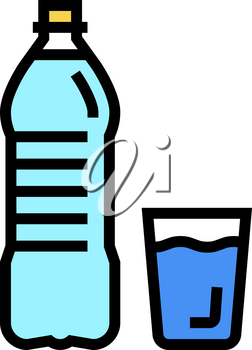bottle and cup water color icon vector. bottle and cup water sign. isolated symbol illustration