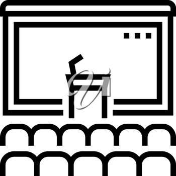 conference hall line icon vector. conference hall sign. isolated contour symbol black illustration