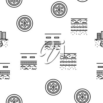 Drainage Water System Vector Seamless Pattern Thin Line Illustration