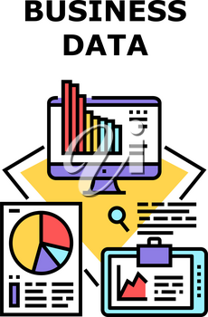 Business Data Vector Icon Concept. Business Data Research Financial Market Information And Analyzing Infographic Of Company Income. Finance Management And Earning Color Illustration