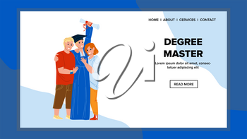 Degree Master Get Student In University Vector. Degree Master Graduation Ceremony Celebrating Boy With Friends. Characters Academy Knowledge Certificate Web Flat Cartoon Illustration