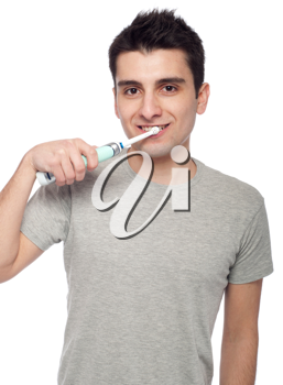 Royalty Free Photo of a Man Brushing His Teeth