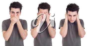 Royalty Free Photo of a See, Speak, Hear No Evil Metaphor