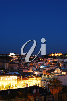 Royalty Free Photo of a Nightscape View of Lisbon (Castle of Sao Jorge, Cathedral and Pantheon)