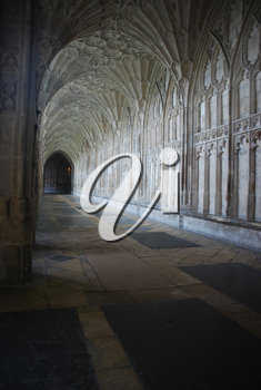Royalty Free Photo of the Famous Cloister in Gloucester Cathedral, England