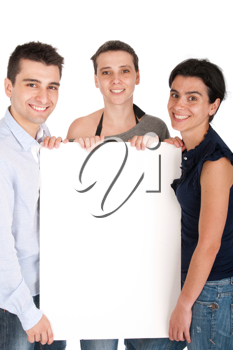 Royalty Free Clipart Image of Siblings Holding a Sign