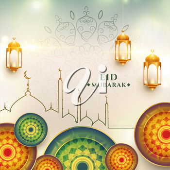 eid mubarak greeting design realistic background