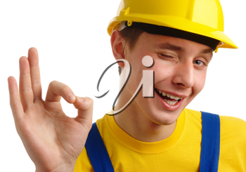 Royalty Free Photo of a Construction Worker Giving an Okay Sign