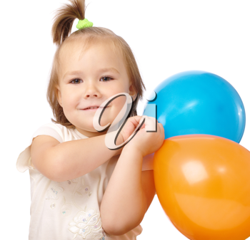 Royalty Free Photo of a Little Girl With a Balloon