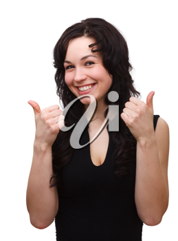 Royalty Free Photo of a Young Woman Giving Two Thumbs Up
