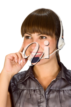 Royalty Free Photo of a Woman Wearing a Headset