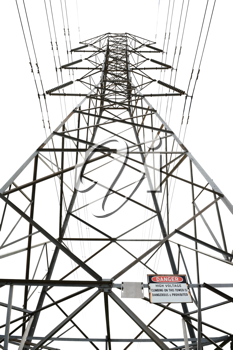 High voltage power pole on white background with danger sign
