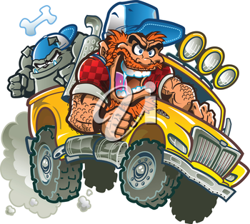 Royalty Free Clipart Image of a Crazy Redneck in a Pickup Truck