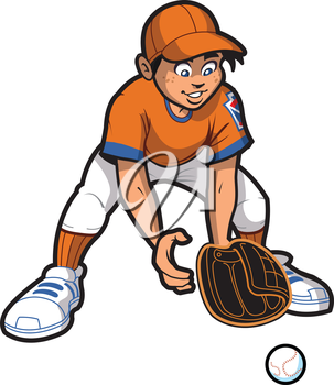 Royalty Free Clipart Image of a Boy Catching a Ball