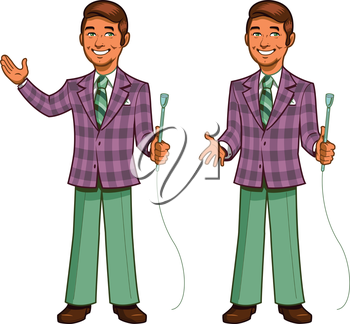 Royalty Free Clipart Image of a Game Show Host in a Plaid Jacket