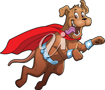 Dog Superhero pet cartoon clipart vector