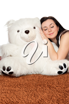 Royalty Free Photo of a Girl and a Big Teddy Bear