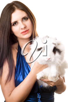 Royalty Free Photo of a Girl With a Rabbit