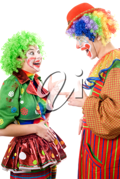 Royalty Free Photo of a Couple of Cheerful Clowns