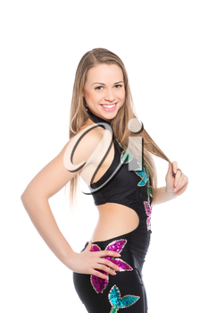 Young smiling woman posing in flowered leotard. Isolated on white