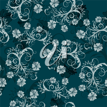 Royalty Free Clipart Image of a Damask Floral Background