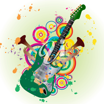 Royalty Free Clipart Image of an Abstract Guitar Design