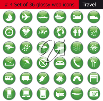 Collection of different icons for using in web design. Set #4. Travel.