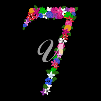 Floral numeral for using in web and print design. Vector illustration.
