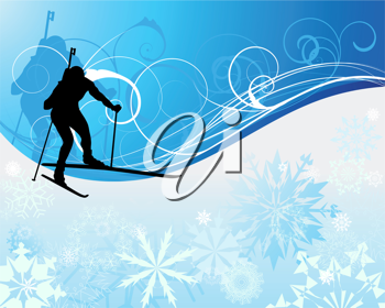 Sport background with biathlon athlete. Vector illustration.