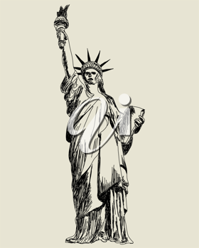 Statue of Liberty. Vector sketch illustration for design use.