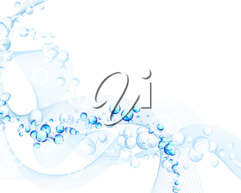 Water ripple background with bubbles. Vector ilustration with transparency EPS 10.