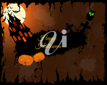 Happy Halloween Greeting Card. Elegant Design With Castle, Bats, Owl, Grave and Cemetery, Tree Over Grunge Orange Background With Ink Blots. Vector illustration.