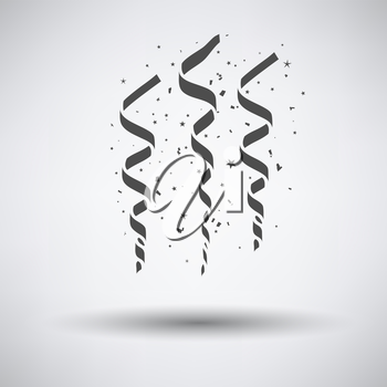 Party serpentine icon on gray background with round shadow. Vector illustration.