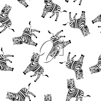 Seamless Pattern From Funny Cartoon Character Zebra With Wide Smile Over White Background.  Tropical and Zoo  Fauna. Vector illustration.