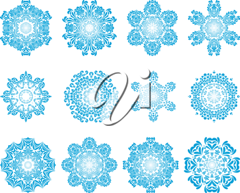 Set of Twelve Circle Snowflakes Ornaments. Vector Illustration.