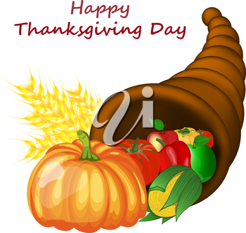 Thanksgiving day greeting card. Design consist from cornucopia pumpkin, pepper, tomato, apple, ears of wheat and corn over white background.  Very cute and warm colors. Vector illustration.