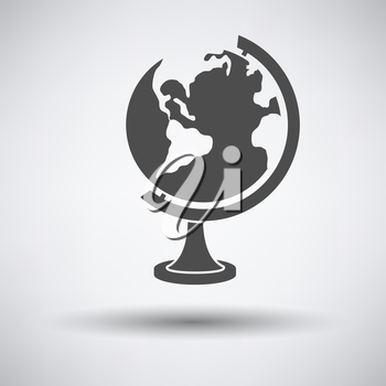 Globe icon on gray background with round shadow. Vector illustration.