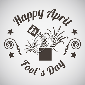 April fool's day emblem with surprise box. Vector illustration.